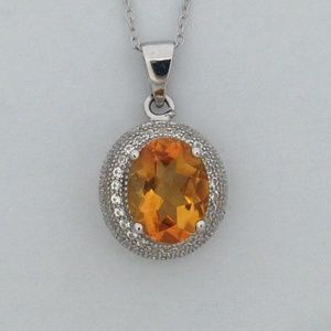 Jewelry - Natural Citrine with White Sapphire Pendant